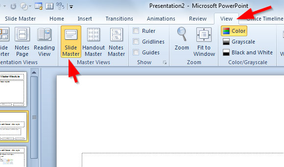 how to create a slide master in powerpoint 2010